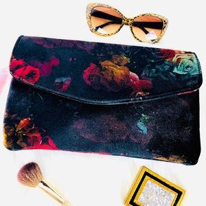 Handbags - Velvet Oil Painting Envelope Dark Floral Clutch